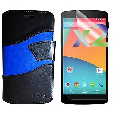 Exian – Étui portefeuille pour Nexus 5X et protecteurs d'écran x2, vagues, noir/bleu
