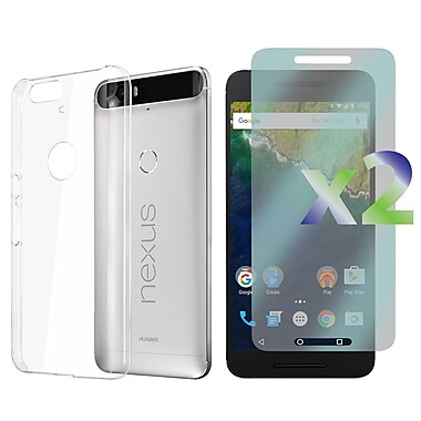Exian Case for Nexus 6p & Screen Protectors x2 Slim Transparent, Clear