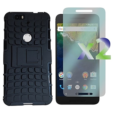 Exian Case for Nexus 6p & Screen Protectors x2 Armored Case with Stand, Black