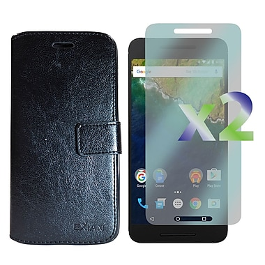 Exian Case for Nexus 6p & Screen Protectors x2 Leather Wallet, Black