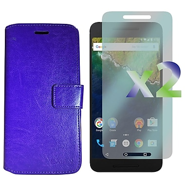 Exian Case for Nexus 6p & Screen Protectors x2 Leather Wallet, Purple