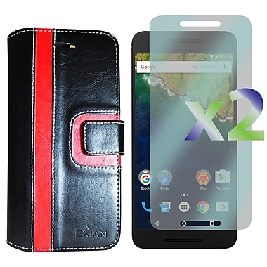 Exian Case for Nexus 6p & Screen Protectors x2 Wallet Stripe Pattern, Black/Red