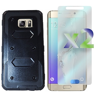 Exian Case for Galaxy S6 Edge Plus & Screen Protectors x2, Armored Case with Front Cover, Black