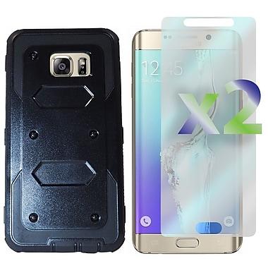 Exian – Étui rigide avec rabat avant pour Galaxy S6 Edge Plus avec protecteurs d'écran x2, noir