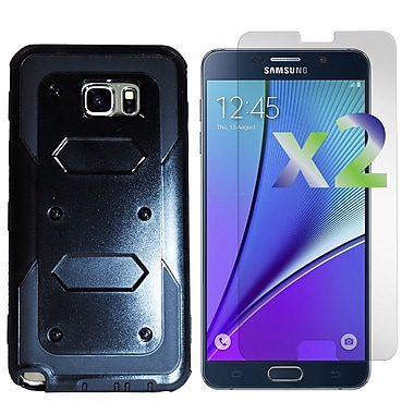 Exian Case for Galaxy Note 5 & Screen Protectors x2 Armored Case, Black