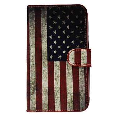 Exian – Étui en cuir pour Galaxy Note drapeau américain vieilli