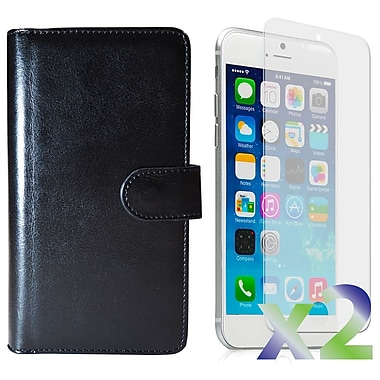 Exian Case for iPhone 6 & Screen Protectors x2 Triple Layers Leather Wallet, Black