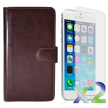 Exian Case for iPhone 6 & Screen Protectors x2 Triple Layers Leather Wallet, Brown