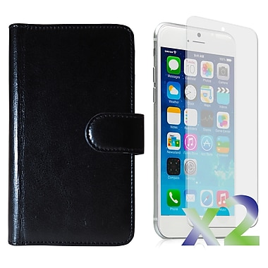 Exian Case for iPhone 6 Plus & Screen Protectors x2 Triple Layers Leather Wallet, Black