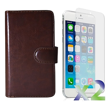 Exian Case for iPhone 6 Plus & Screen Protectors x2 Triple Layers Leather Wallet, Brown