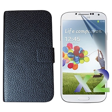 Exian Case for Galaxy S4 Leather flip Case, Black