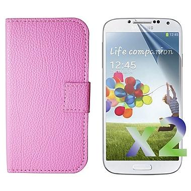 Exian – Étui portefeuille à rabat en cuir pour Galaxy S4, rose