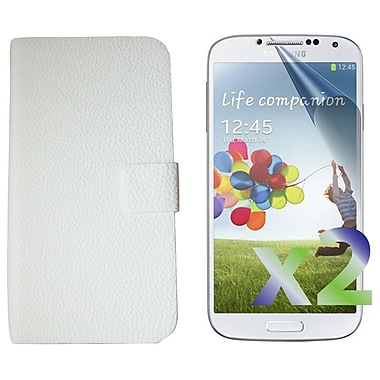 Exian Case for Galaxy S4 Leather flip Case, White