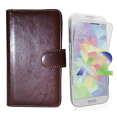 Exian Case for Galaxy S5 & Screen Protectors x2 Triple Layers Leather Wallet, Brown