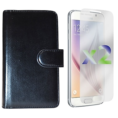 Exian Case for Galaxy S6 & Screen Protectors x2 Triple Layers Leather Wallet, Black