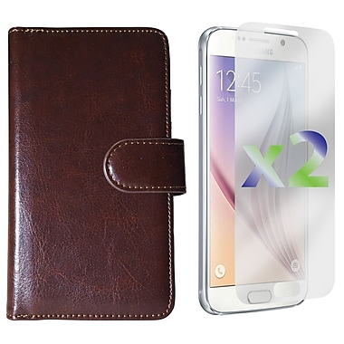 Exian Case for Galaxy S6 & Screen Protectors x2 Triple Layers Leather Wallet, Brown
