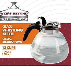 Wee's Beyond Stove Top Glass Whistling Kettle 12 Cups WYF078278382084