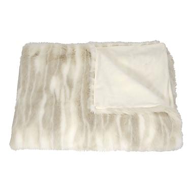 Mina Victory Faux Wolf Fur Throw Blanket; Beige