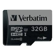 Verbatim® 47041 Pro UHS-I U3 Class 10 32GB microSDHC Memory Card with Adapter
