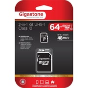 Gigastone GS-2IN1X1064G-R Class 10/UHS-I 64GB microSDXC Memory Card 2-in-1 Kit