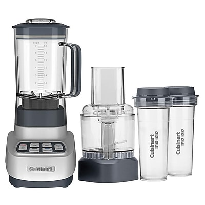 Cuisinart Velocity Ultra Trio 56 oz. 1 HP Blender/Food Processor with Travel Cups, Clear/Grey (BFP-650) IM1ZH8595