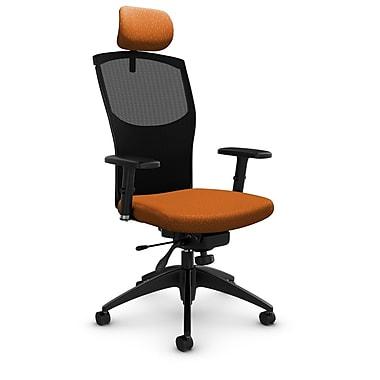 GlobalMD – Fauteuil en mailles à inclinaison aux genoux avec appuie-tête, tissu agencé orange, orange