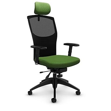 GlobalMD – Fauteuil en mailles à inclinaison aux genoux avec appuie-tête, tissu agencé vert, vert