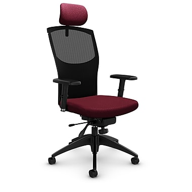 Mesh Knee Tilter with Headrest, Match - Burgundy Fabric, Red