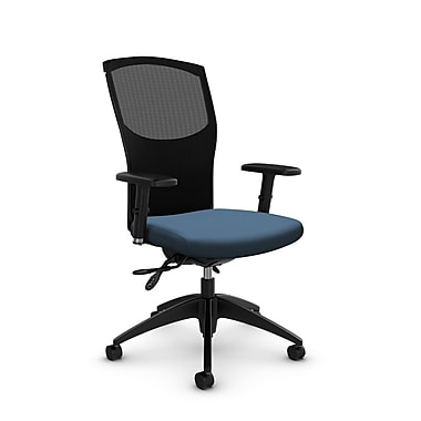 Chaise de travail en mailles, tissu Imprint océan, bleu