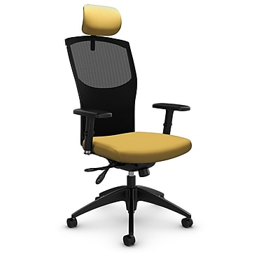 Mesh Multi Tilter with Headrest, Imprint - Currie Fabric, Yellow
