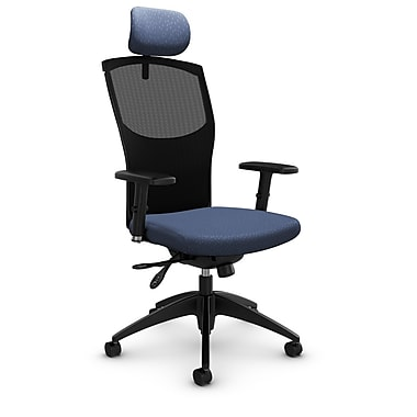 Mesh Multi Tilter with Headrest, Match - Blue Fabric, Blue