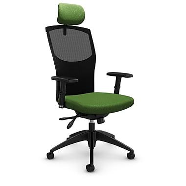 Fauteuil en mailles à inclinaison multiple avec appuie-tête, tissu Match vert, vert