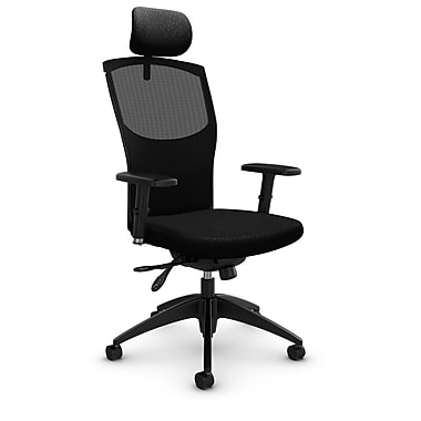 Mesh Multi Tilter with Headrest, Match - Black Fabric, Black