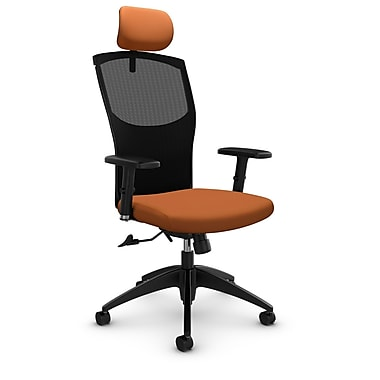 Mesh Tilter with Headrest, Imprint - Paprika Fabric, Orange