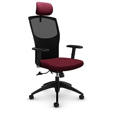 Mesh Tilter with Headrest, Match - Burgundy Fabric, Red