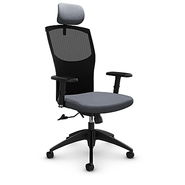 Mesh Tilter with Headrest, Match - Grey Fabric, Grey