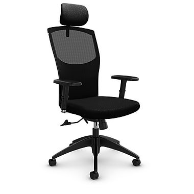 Mesh Tilter with Headrest, Match - Black Fabric, Black