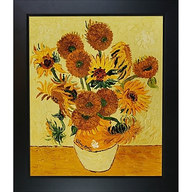 Tori Home Vase w/ Fifteen Sunflowers by Vincent Van Gogh Framed Painting