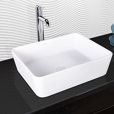 Vigo Sirena Rectangular Vessel Bathroom Sink w/ Faucet