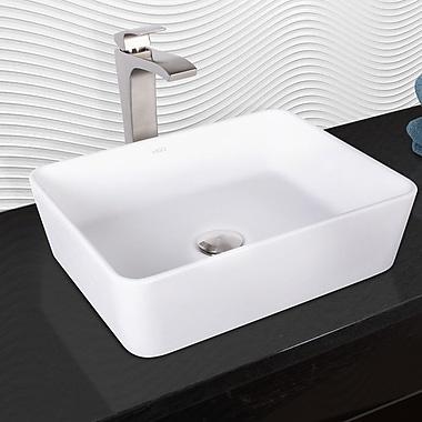 Vigo Marigold Rectangular Vessel Bathroom Sink w/ Faucet