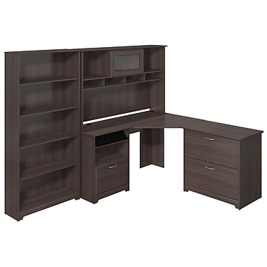 Bush Furniture Cabot Collection L-Desk with Hutch and Lateral File, Heather Grey (CAB009HRG)