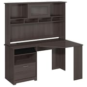 Bush Furniture Cabot Collection Corner Desk with Hutch, Heather Gray (CAB008HRG)