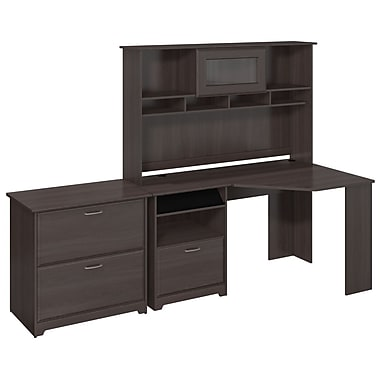 Bush Furniture Cabot Collection L-Desk with Hutch, 6 Cube Bookcase and Lateral File, Heather Grey (CAB007HRG)
