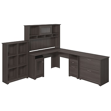 Bush Furniture Cabot Collection 5 Shelf Bookcase, Heather Grey (CAB003HRG)