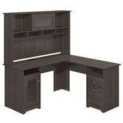 Bush Furniture Cabot Collection L Desk with Hutch, Heather Grey (CAB001HRG)