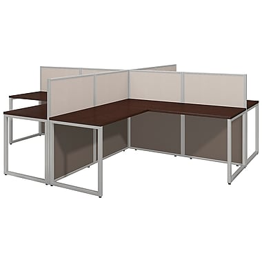 Bush Business Furniture Easy Office 60W, 4 Person L Desk Open Office, Mocha Cherry (EOD760MR-03K)
