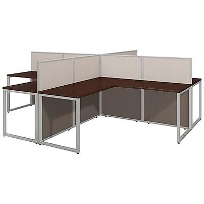 Bush Business Furniture Easy Office 60W 4 Person L Desk Open Office, Mocha Cherry(EOD760MR-03KFA)
