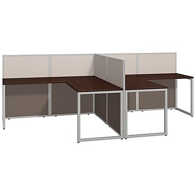 Bush Business Furniture Easy Office 60W 2 Person L Desk Open Office, Mocha Cherry(EOD560MR-03K)