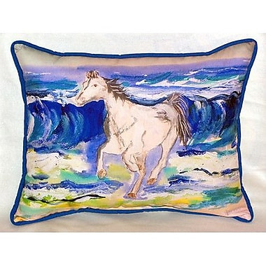 Betsy Drake Interiors Horse and Surf Indoor/Outdoor Lumbar Pillow