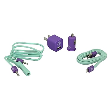 BlueDiamond ToGo Phone Accessory Kit Lightning + Wall Charger + Car Charger + 3.5 mm Audio Cable, Purple/Aqua